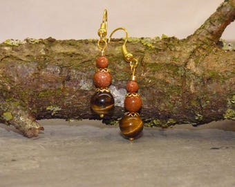 ŒIL TIGER STONE AND SUNSTONE EARRINGS