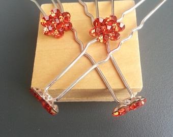 set of 4 red 65mm flower rhinestone hair pins