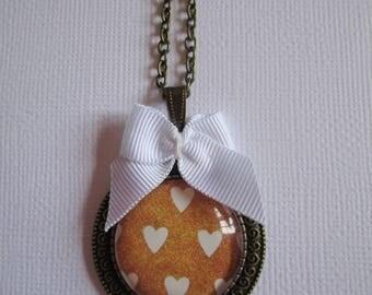 """Necklace """"Precious love III"""", bronze cabochon, costume jewelry"""