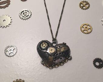 Steam punk heart necklace