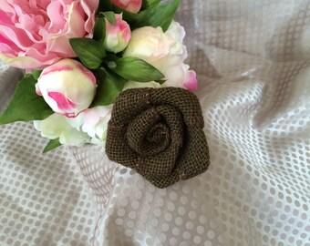 Flower 6 cm Brown burlap