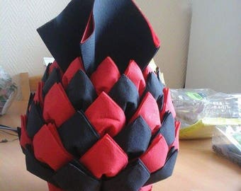 Folding napkin dispenser pineapple black and Red