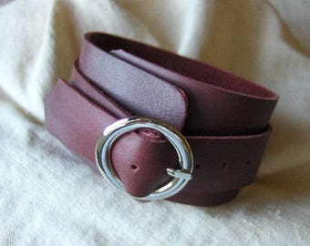 Dark red leather buckle bracelet