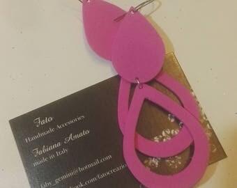 Fuchsia Color rubber chandelier earrings