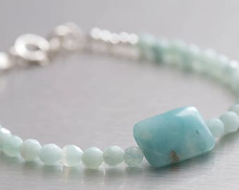 Opalite and silver bracelet