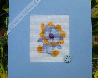 """Hand embroidered card: Blue lion """"It's a boy""""!"""