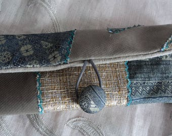 Gold, green and grey patchwork glasses case
