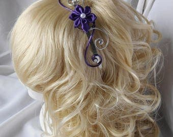 Purple headband with satin flower