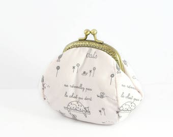 Wallet pink pattern cats