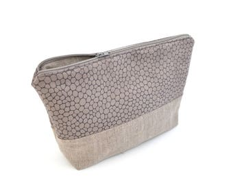 Linen and grey snakeskin print fabric clutch