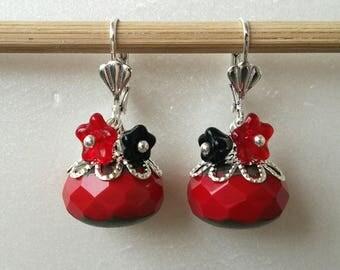 Flowers earrings Bohemian red and black