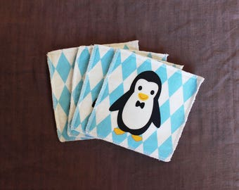 Set of 4 Blue Penguin baby wipes