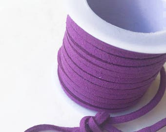 Suede lace / purple LILAC /largeur 3mm cut 50 cm