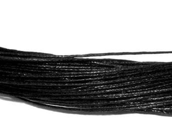 set of 10 m of black waxed cord 1 mm
