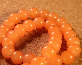 10 pearls 8 mm glass jade-orange-PE201-10