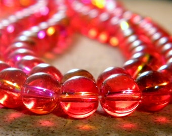 20 glass beads 10 mm - translucent 2 tones - red - PG301-3