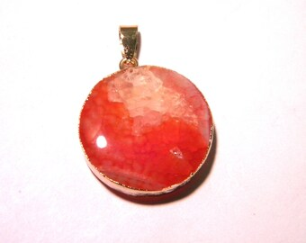 Pendant natural agate - 37 mm - set golden - orange-F118 - semi precious gem stone - PE283