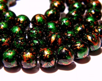 20 bright decorated glass - beads 6 mm - tones green and copper - PG131-5