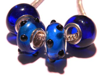 4 bead charms murano glass European - blue tones - 14 x 10 mm-compatible pandora - PG278-3