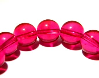 30 pearls 10 mm translucent glass - round glass bead - bright - K08 fuchsia