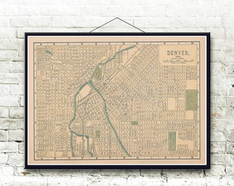 Denver Colorado 1893 Map Fine Art Print