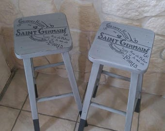 weathered old 2 bar stools