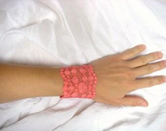 Pretty orange coral lace bracelet