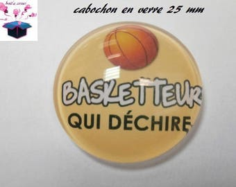 1 cabochon clear 25 mm round basketball theme