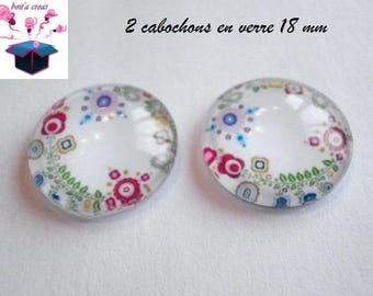 2 theme design 18mm domed glass cabochon