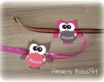 place card shape fuchsia - Brown owls