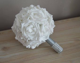 Bridal bouquet: Pink White and gray cuff