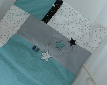 Cover padded baby 75 x 95 cm, white, teal, grey