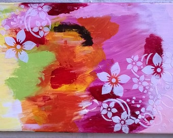 Tutti frutti flowers, abstract canvas