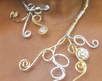 """Necklaces """"Musings"""" in gold and silver aluminium wire streaked and crafted, hand beaded."""