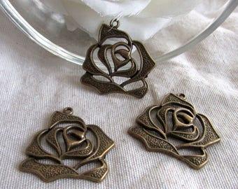 3 X 28 x 30 mm bronze rose flower charms