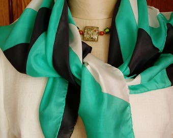 """""""The Green Ray"""" Silk pongee scarf black white green hand painted. Unique creation"""