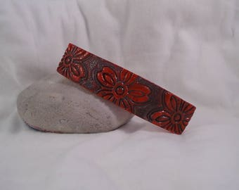 hair clip in shades of Brown/gray and Red polymer clay