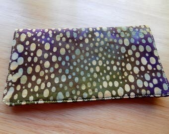 """Checkbook Cover, Coupons Wallet, Cash Holder, 6.5""""x3.5"""",  in Purple and Green Fabric"""
