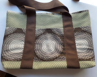 Tote Bag with Pockets for Shopping, Books, School, Market, Diapers, Knitting and Sewing Projects Sage and Brown