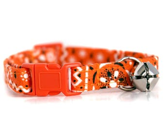 Orange Bandana ,, Orange Cat Collar, with orange breakaway buckle