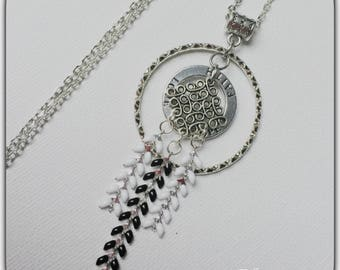 Trendy silver, black and white necklace, Spike pendant