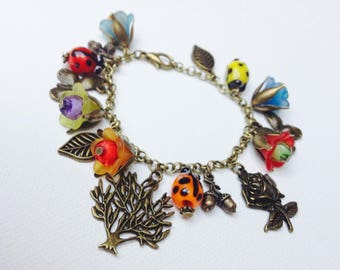 Retro bracelet, Ode to nature, flowers, ladybugs, butterflies, leaves and colors