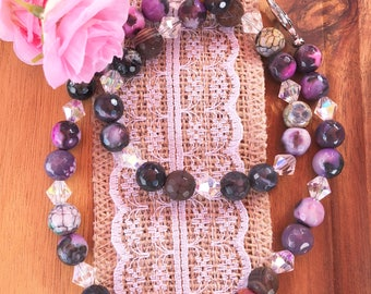 Purple Bead and Crystal Necklace