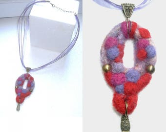 """Anita"" - pure felted wool necklace and charms"