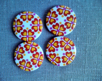 Button magnets round folklore pattern