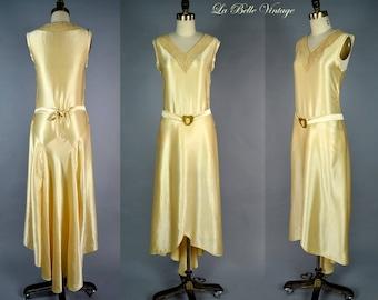 1920s Silk Wedding Dress S Vintage Ivory Bridal Gown ~ Antique Brass Belt