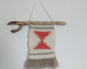 Wool woven wall hanging with Driftwood