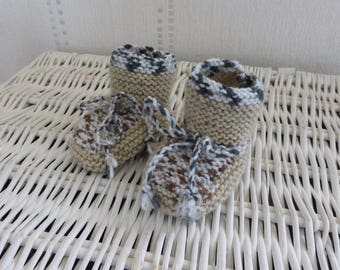 Beige and Brown knitted baby booties