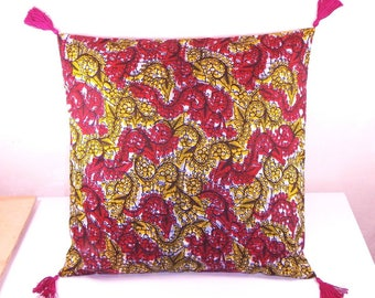 African Wax pillow cover 40 x 40 color Burgundy yellow and black