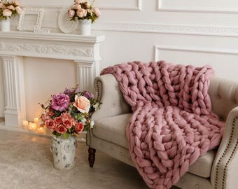 Giant chunky knitted blanket  bedroom, for sofa, for couch, Arm knit bulky woollen throws of merino wool, Personalised Valentines Day gifts
